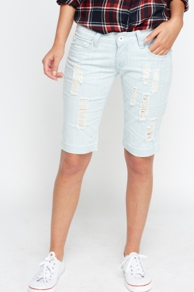 Distressed Washed Blue Shorts