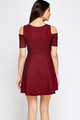 Cold Shoulders Textured Skater Dress