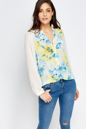 Contrast Sleeves Printed Blouse