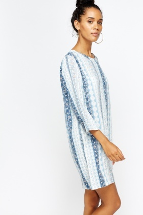Blue Multi Print Flare Tunic Dress