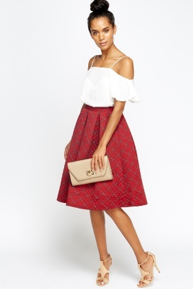 Quilted Printed Pleated Midi Skirt