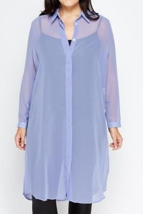 Sheer Long Line Shirt Split Top