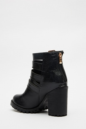 Cut Out Buckle Side Boots