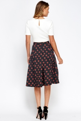 Black Printed Skater Midi Skirt
