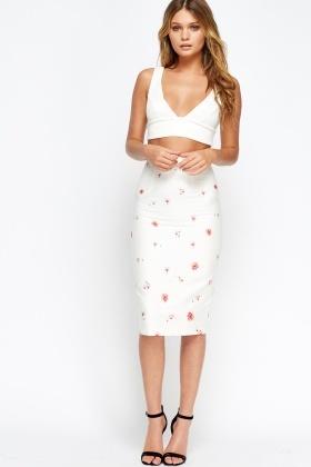 e3d93457d Blossom Flower White Midi Bodycon Skirt - Just £5