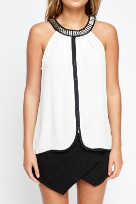 Embellished Neck Contrast Sheer Top