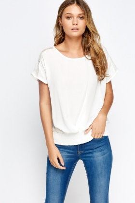 Lace Shoulder Elasticated Hem Top