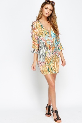 Mesh Back Ornate Mini Tunic Dress