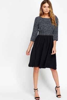 Polka Dot Contrast Skater Dress