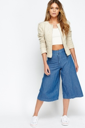 Suedette Cropped Casual Jacket