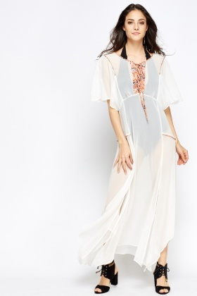 Asymmetric Hem Shirred Cover Up