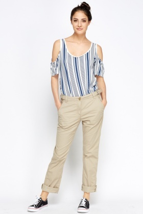 Buckle Side Cotton Trousers