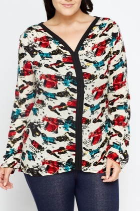 Contrast Trim Printed Top