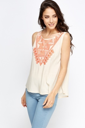 Embroidered Front Sleeves Top