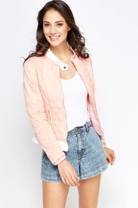 Faux Leather Insert Quilted Jacket