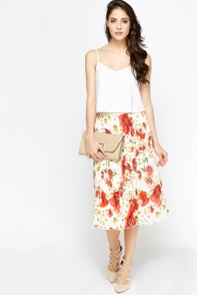 Red Pleated Floral Midi Skirt - Just £5
