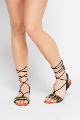 Embellished Front Tie up Sandals