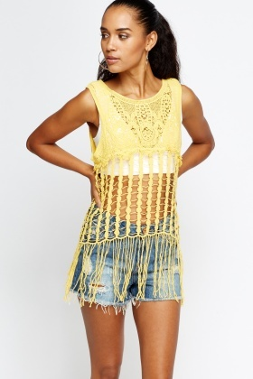 Crochet Perforated Tassel Hem Top