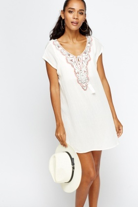 Embroidered Tie Up Mini Dress