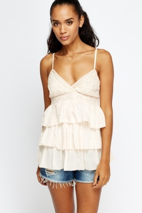 Lace Front Frilled Cami Top