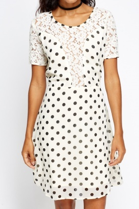 Lace Insert Polka Dot Dress