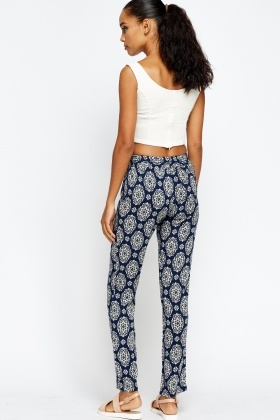 Ornate Printed Navy Trousers
