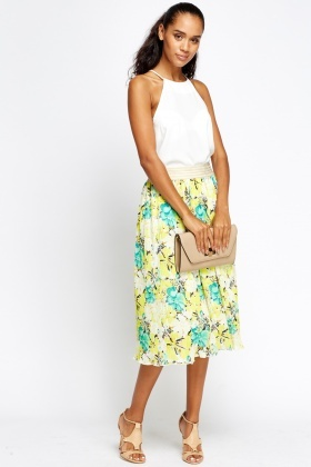 Pleated Floral Yellow Midi Skirt