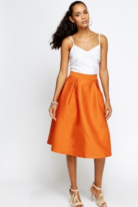 Pleated High Waist Midi Skirt