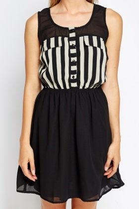 Contrast Striped Elasticated Dress