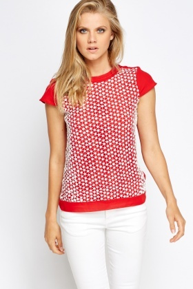 Mesh Overlay Front T-Shirt
