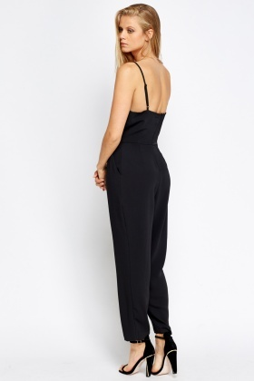 Pleated Waist Black Jumpsuit