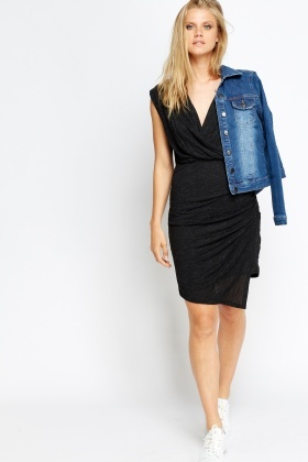 Charcoal Ruffle Side Dress