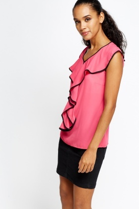 Contrast Ruffle Trim Top