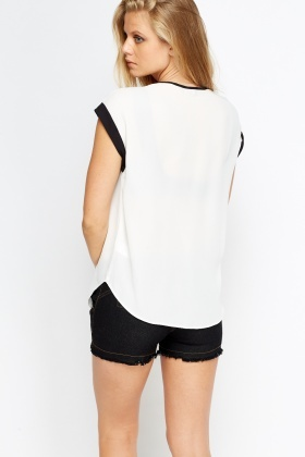 Contrast Zip Neck Top