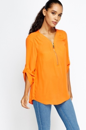 Long Sleeves Orange Blouse