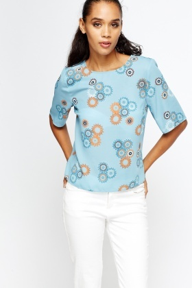 Middle Blue Floral T-Shirt