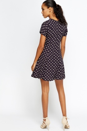 Printed Black Swing Dress