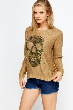 Studded Skull Printed Jumper
