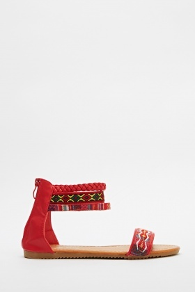Aztec Strap Detailed Ankle Sandals