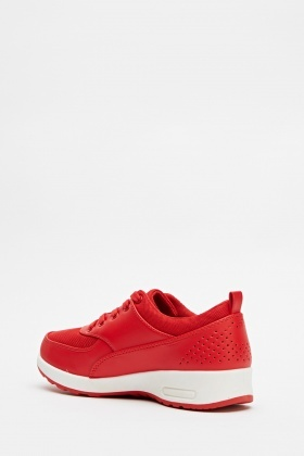 Contrast Faux Leather Trainers