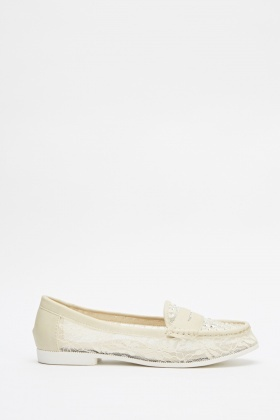 Encrusted Mesh Insert Loafers