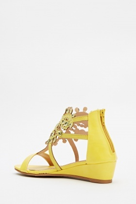 Encrusted Yellow Wedge Sandals