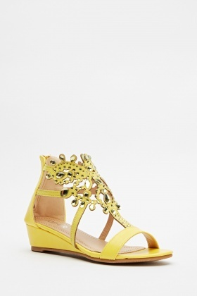 Encrusted Yellow Wedge Sandals - Just £5