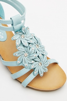 Flower Encrusted Wedge Sandals