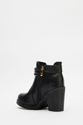 Woven Side Faux Leather Ankle Boots