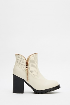 Zip Trim Ankle Boots