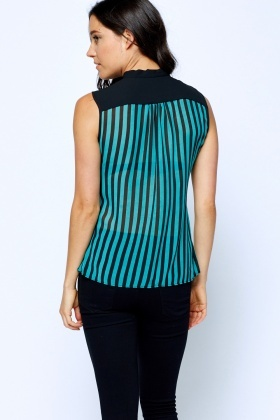 Blouse Striped Tie Up Top