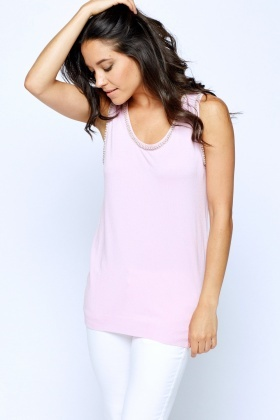 Embellished Trim Sleeveless Top