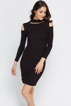 High Neck Ribbed Cold Shoulder Dress