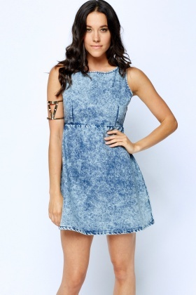 High Waisted Denim Mini Dress